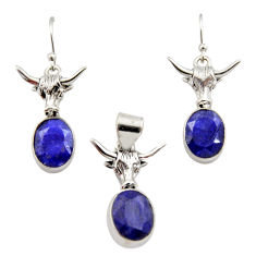 12.83cts natural blue sapphire 925 sterling silver pendant earrings set r12465
