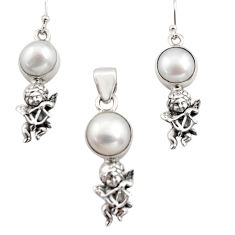 14.54cts natural white pearl 925 silver angel pendant earrings set r12466