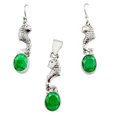 13.04cts natural green emerald 925 silver fish pendant earrings set r12468