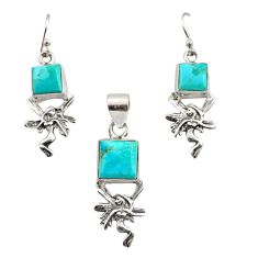 10.52cts arizona mohave turquoise 925 silver angel pendant earrings set r12469