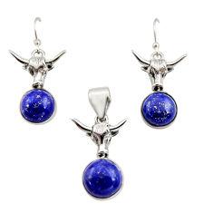 16.34cts natural blue lapis lazuli 925 silver pendant earrings set r12470