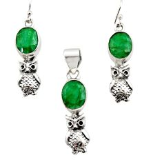 925 silver 11.73cts natural green emerald round owl pendant earrings set r12471
