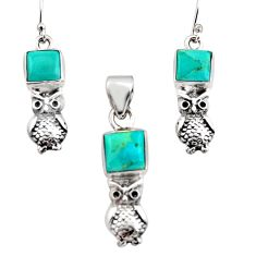 11.83cts green arizona mohave turquoise silver owl pendant earrings set r12472