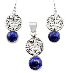 14.77cts natural lapis lazuli silver tree of life pendant earrings set r12473