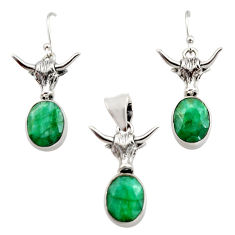 14.16cts natural green emerald 925 sterling silver pendant earrings set r12474