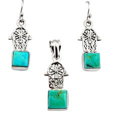 Arizona mohave turquoise silver hand of god hamsa pendant earrings set r12475