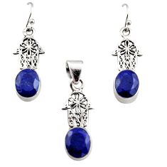 13.22cts natural sapphire silver hand of god hamsa pendant earrings set r12476