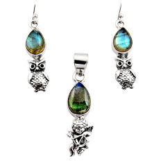 925 silver 11.30cts natural blue labradorite angel pendant earrings set r12477