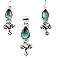 11.73cts natural blue labradorite 925 silver cross pendant earrings set r12478