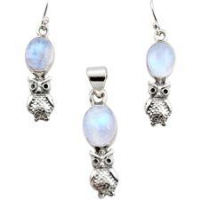 925 silver 13.04cts natural rainbow moonstone owl pendant earrings set r12479