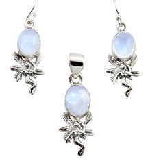 925 silver 11.23cts natural rainbow moonstone angel pendant earrings set r12480