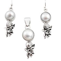 14.54cts natural white pearl 925 silver angel pendant earrings set r12481