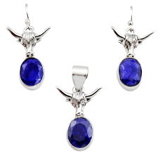 13.07cts natural blue sapphire 925 sterling silver pendant earrings set r12483