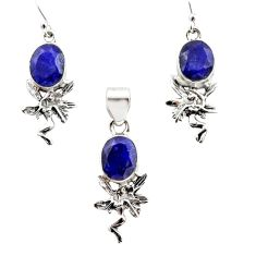 925 silver 13.41cts natural blue sapphire angel pendant earrings set r12484