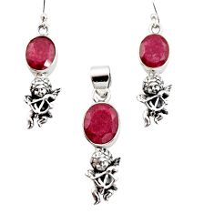 12.04cts natural red ruby 925 sterling silver angel pendant earrings set r12485