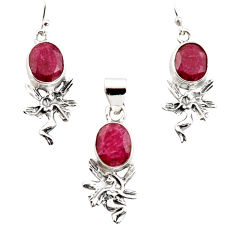 12.72cts natural red ruby 925 sterling silver angel pendant earrings set r12486