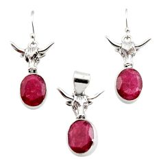 13.62cts natural red ruby 925 sterling silver pendant earrings set r12487