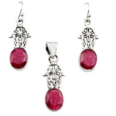 13.07cts natural ruby 925 silver hand of god hamsa pendant earrings set r12488