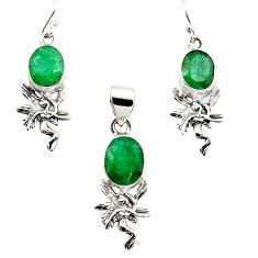 12.70cts natural green emerald 925 silver angel pendant earrings set r12489