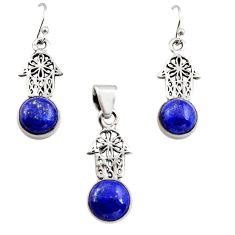 Natural lapis lazuli 925 silver hand of god hamsa pendant earrings set r12490