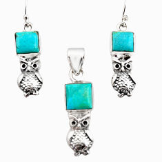 10.44cts green arizona mohave turquoise silver owl pendant earrings set r12491