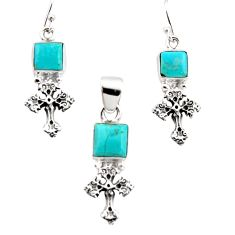 8.67cts arizona mohave turquoise 925 silver cross pendant earrings set r12492