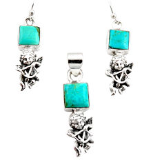 8.67cts arizona mohave turquoise 925 silver angel pendant earrings set r12493