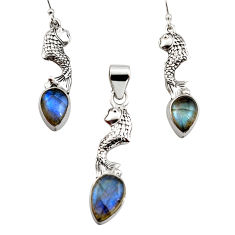 925 silver 12.64cts natural blue labradorite fish pendant earrings set r12495