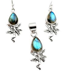 10.89cts natural blue labradorite 925 silver angel pendant earrings set r12496