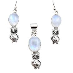13.34cts natural rainbow moonstone 925 silver owl pendant earrings set r12497
