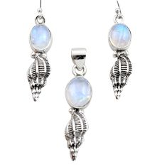 925 silver 12.31cts natural rainbow moonstone round pendant earrings set r12500