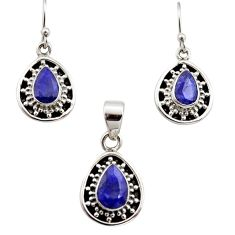 925 silver 6.80cts natural blue sapphire pear shape pendant earrings set r12501