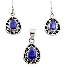 6.45cts natural blue sapphire 925 sterling silver pendant earrings set r12502
