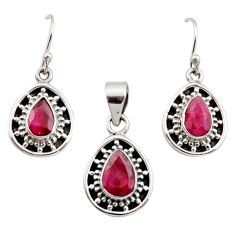6.57cts natural red ruby 925 sterling silver pendant earrings set jewelry r12503
