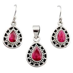 925 sterling silver 6.80cts natural red ruby pear pendant earrings set r12504