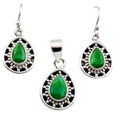 6.81cts natural green emerald 925 sterling silver pendant earrings set r12506