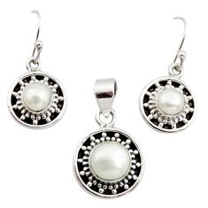 925 silver 5.95cts natural white pearl round shape pendant earrings set r12507