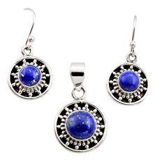 5.95cts natural blue lapis lazuli 925 silver pendant earrings set r12509