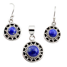 6.17cts natural blue lapis lazuli round 925 silver pendant earrings set r12510
