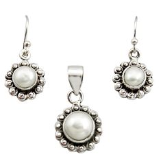 5.75cts natural white pearl 925 sterling silver pendant earrings set r12511