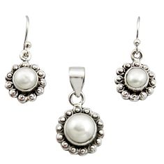5.97cts natural white pearl 925 sterling silver pendant earrings set r12512