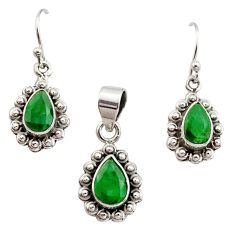 5.74cts natural green emerald 925 sterling silver pendant earrings set r12514