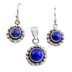 5.97cts natural blue lapis lazuli 925 silver pendant earrings set r12515