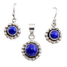 925 silver 5.97cts natural blue lapis lazuli round pendant earrings set r12516