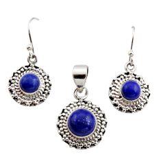 7.02cts natural blue lapis lazuli 925 silver pendant earrings set r12517