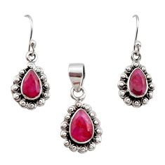 5.97cts natural red ruby 925 sterling silver pendant earrings set jewelry r12518