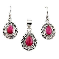 925 sterling silver 7.02cts natural red ruby pear pendant earrings set r12519