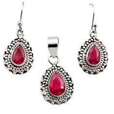 7.02cts natural red ruby 925 sterling silver pendant earrings set jewelry r12520