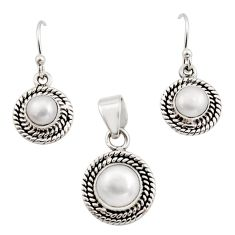 5.42cts natural white pearl 925 sterling silver pendant earrings set r12521