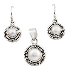 5.42cts natural white pearl 925 sterling silver pendant earrings set r12522